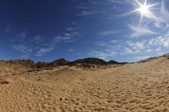 Desert - blue sky - sun